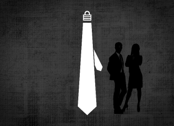 White tie with a lock as the knot on a dark background with silhouetted business people